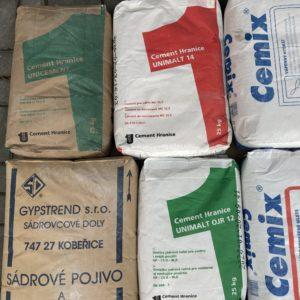 Cementy, unimalty, vápna, sádry